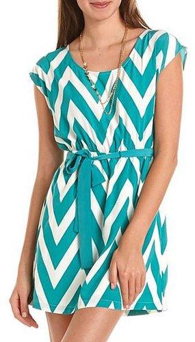 Belted Chevron Stripe Dress