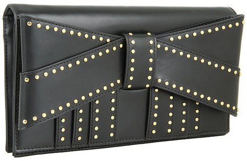 Z Spoke ZAC POSEN - Shirley Bow Clutch Studded (Black Studded Oil Tan) - Bags and Luggage