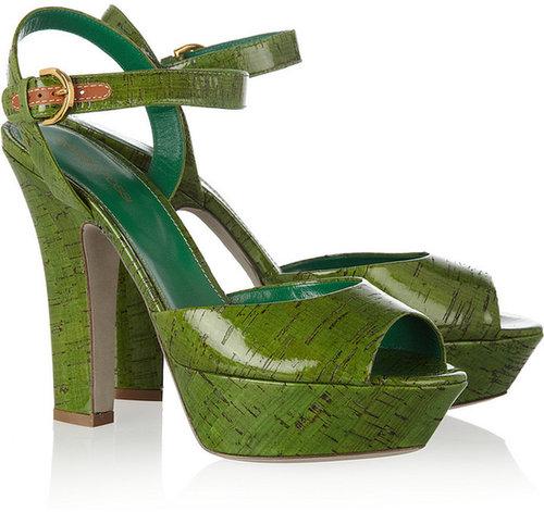 Sergio Rossi Glossed-cork sandals