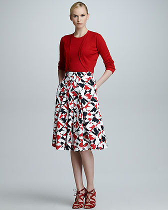 Carolina Herrera Diamond-Print A-Line Skirt