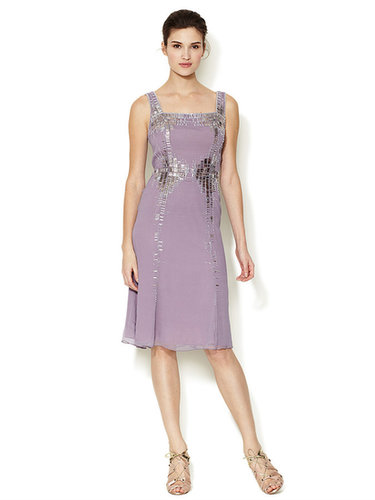 Silk Silver Baguettes Embellished Dress