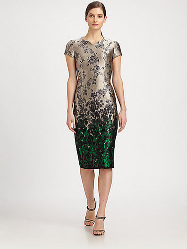 Carolina Herrera Ombré Floral-Print Jacquard Dress