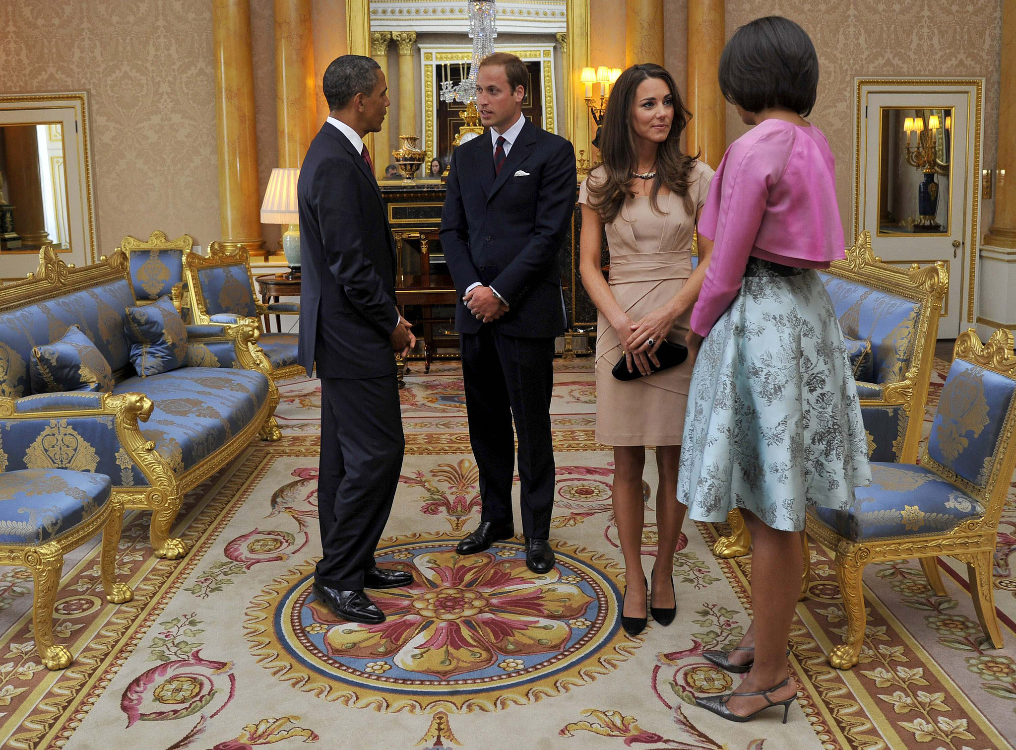 Kate and William met with President Barack Obama and First Lady Michelle Obama when the Obamas made a state visit to London in May 2011.