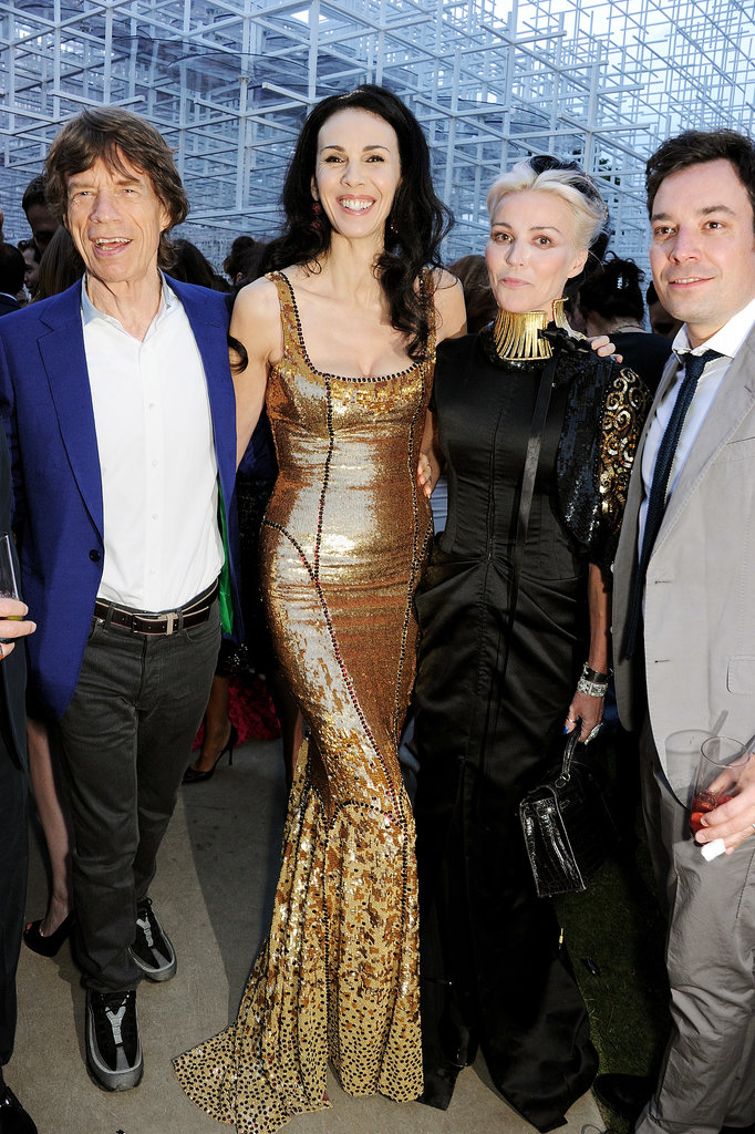 L'Wren Scott and Daphne Guinness posed with Mick Jagger and Jimmy Fallon at the Serpentine Gallery Summer Party.