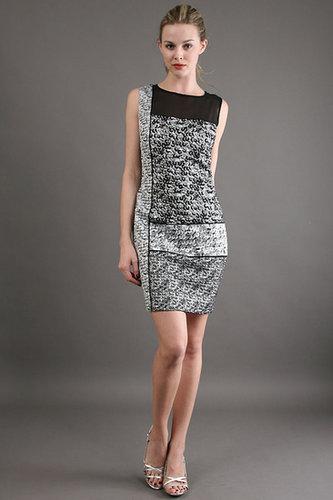 Phoebe Couture Mix Print Jacquard Dress in Silver/Black