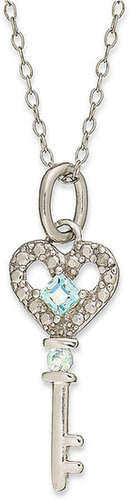 Victoria Townsend Sterling Silver Necklace, Blue Topaz (1/4 ct. t.w.) and Diamond Accent Heart Key Pendant