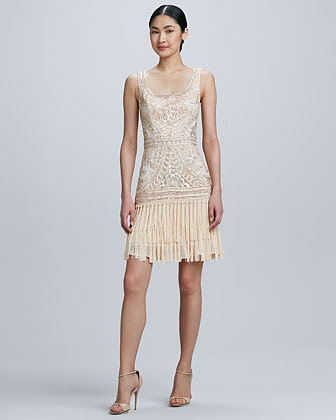 Sue Wong Scoop-Neck Embroidered Fringe Cocktail Dress
