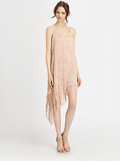 Haute Hippie Asymmetrical Tiered Fringe Dress