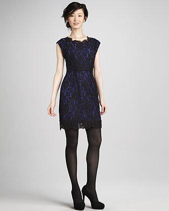 Joie Maribeth Lace Cap-Sleeve Dress