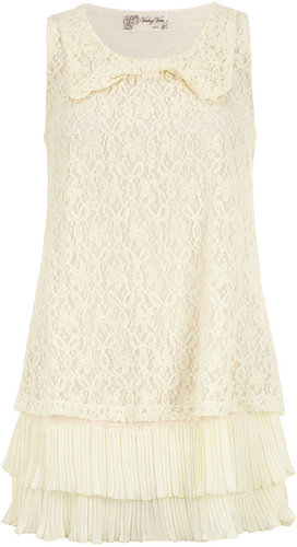 Cream frill hem bubble tunic