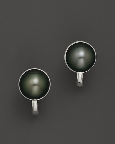 Tara Pearls 18K White Gold Tahitian Cultured Pearl and Diamond Earrings