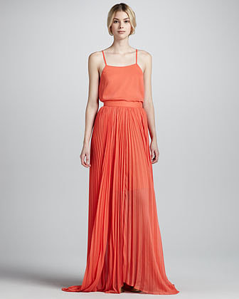 After seeing Alessandra Ambrosio in a pleated maxi skirt, I immediately wanted to wear one, too. This Alice + Olivia orange pleated maxi skirt ($396) comes in one of my favorite colors and would look amazing against a cool denim jacket. With a ton of shiny gold jewels, I can just easily dress it up for a party or a wedding. — MN