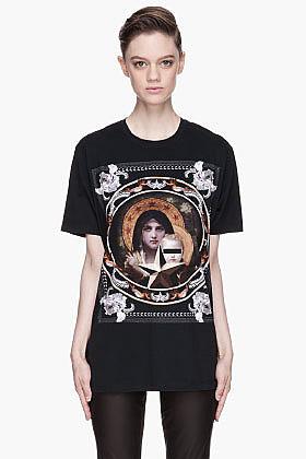 GIVENCHY Black Framed halo Madonna T-Shirt