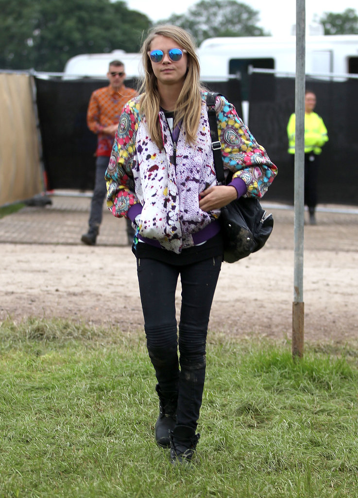 Cara Delevingne attended Glastonbury.