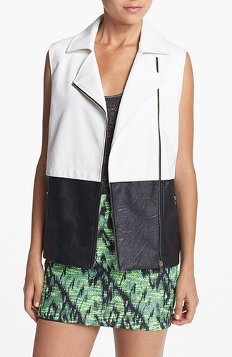 ASTR Colorblock Faux Leather Vest