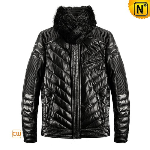 Leather Down Jacket Black CW861991 - cwmalls.com