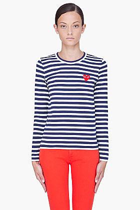 COMME DES GARÇONS PLAY Striped Red Emblem T-Shirt