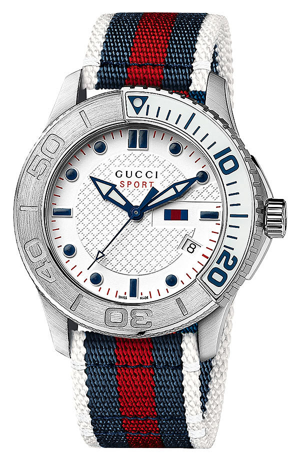 A sporty watch comes in handy if you're timing slip 'n' slide races or keeping track of how long the burgers have been on the grill. We love Gucci's luxe navy-and-red option ($950).