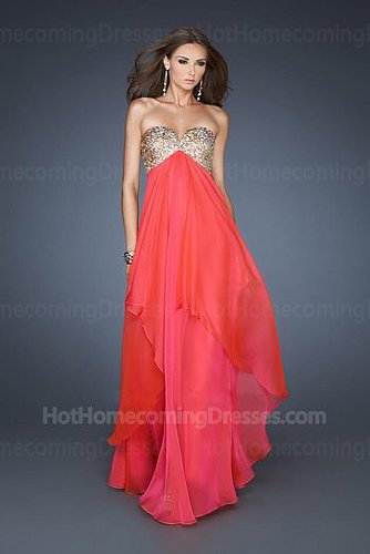 Gorgeous Watermelon Long Strapless Sequin Beaded Top Homecoming Dress Cheap