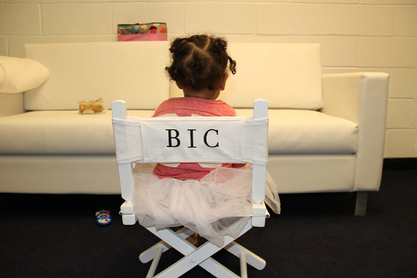 "Blue sat in her personalized ""BIC"" chair backstage during Beyoncé's Mrs. Carter Show tour.  Source: Beyoncé on Tumblr"