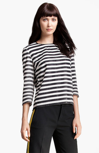 MSGM Stripe Silk & Cotton Top
