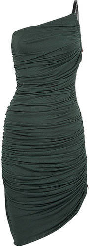 Halston Heritage Asymmetric ruched jersey dress