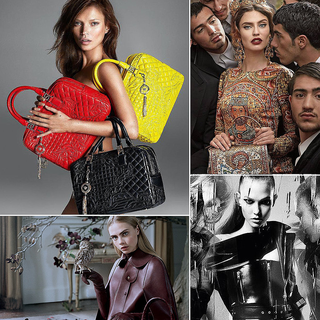 We gawked at all the latest Fall 2013 ad campaigns, especially that one of a brunette Kate Moss with the gaggle of Versace bags and Cara Delevingne with an owl.