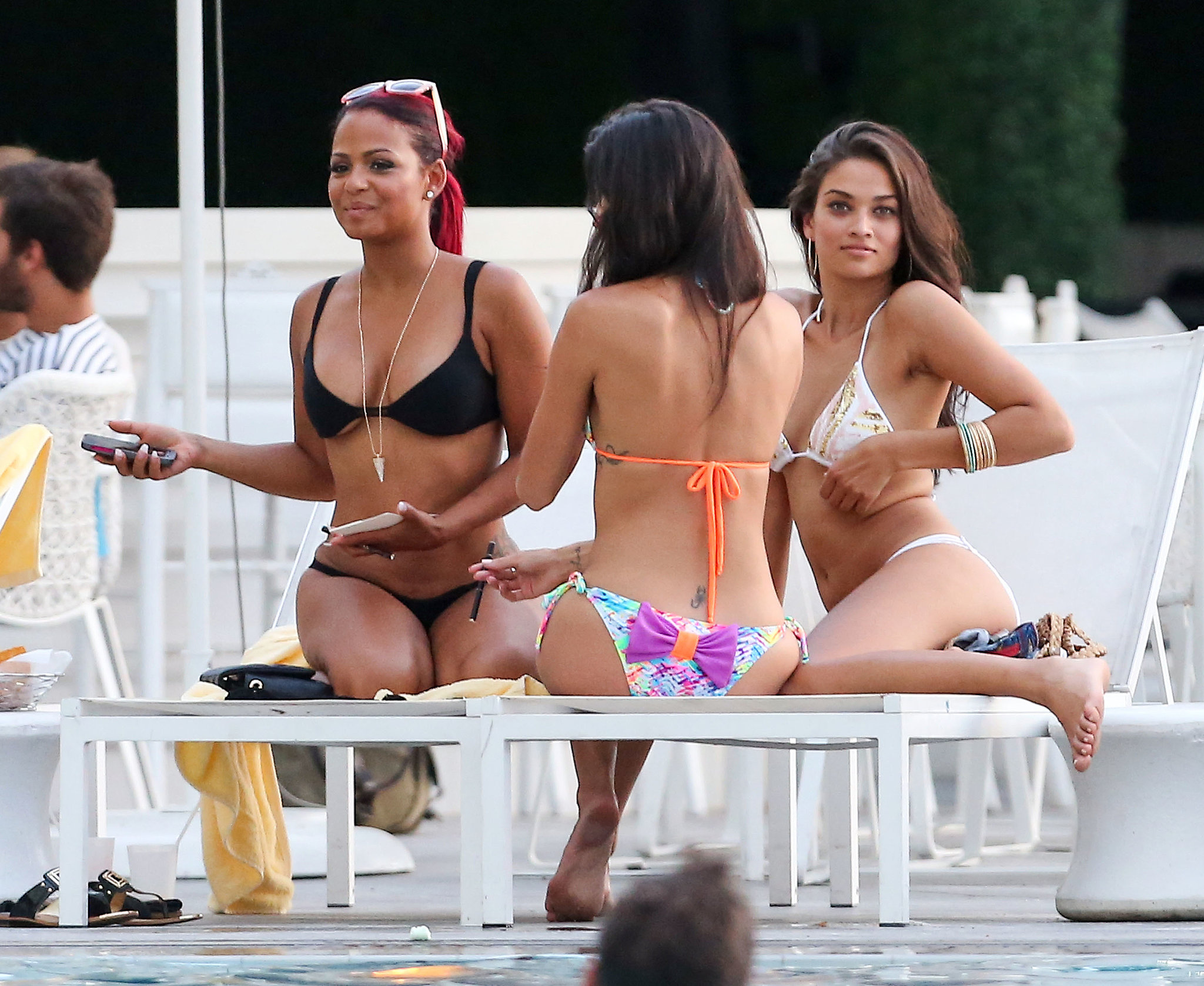 Christina Milian Rocks a Bikini and Fishnets During a Miami Pool Stop