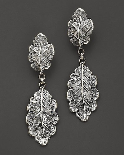 "Buccellati ""Oak"" 1 Small 1 Medium Leaf Pendant Earrings"