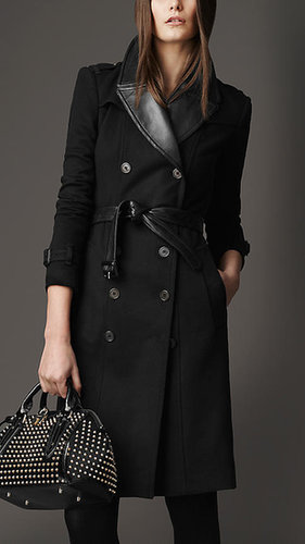 Long Wool Cashmere Leather Detail Trench Coat