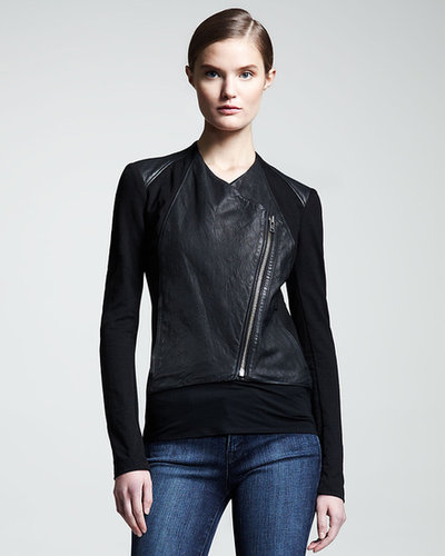 HELMUT Helmut Lang Washed Leather Paneled Jacket