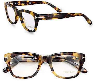 Tom Ford Eyewear Full Rim Square Wayfarer-Inspired Plastic Eyeglasses