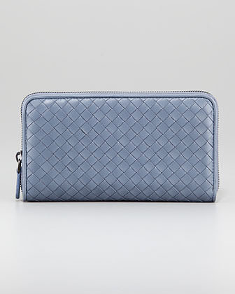 Bottega Veneta Woven Leather Continental Zip Wallet, Light Blue