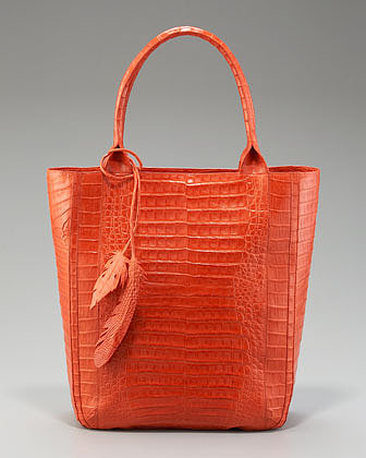 Nancy Gonzalez Crocodile Leaf Tote, Orange