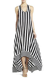BCBGMAXAZRIA's Gia Silk High-Low Striped Dress