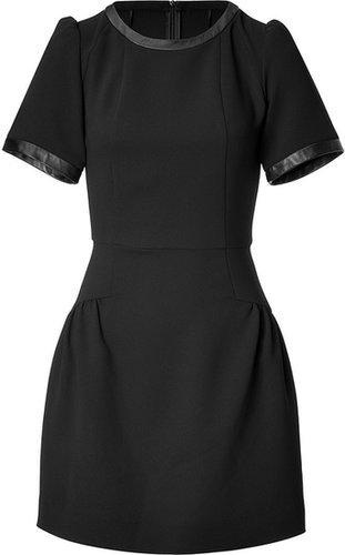 Sandro Leather Trim Rose Dress in Black