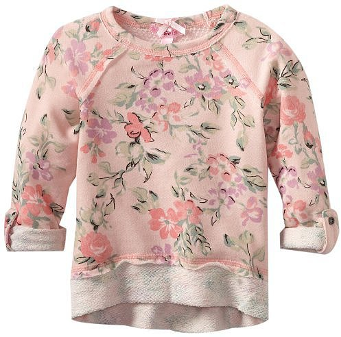 Sugartart Love Girls 2-6X Floral Sweatshirt with Meshback