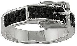 Silver-Plated Black Crystal Buckle Ring