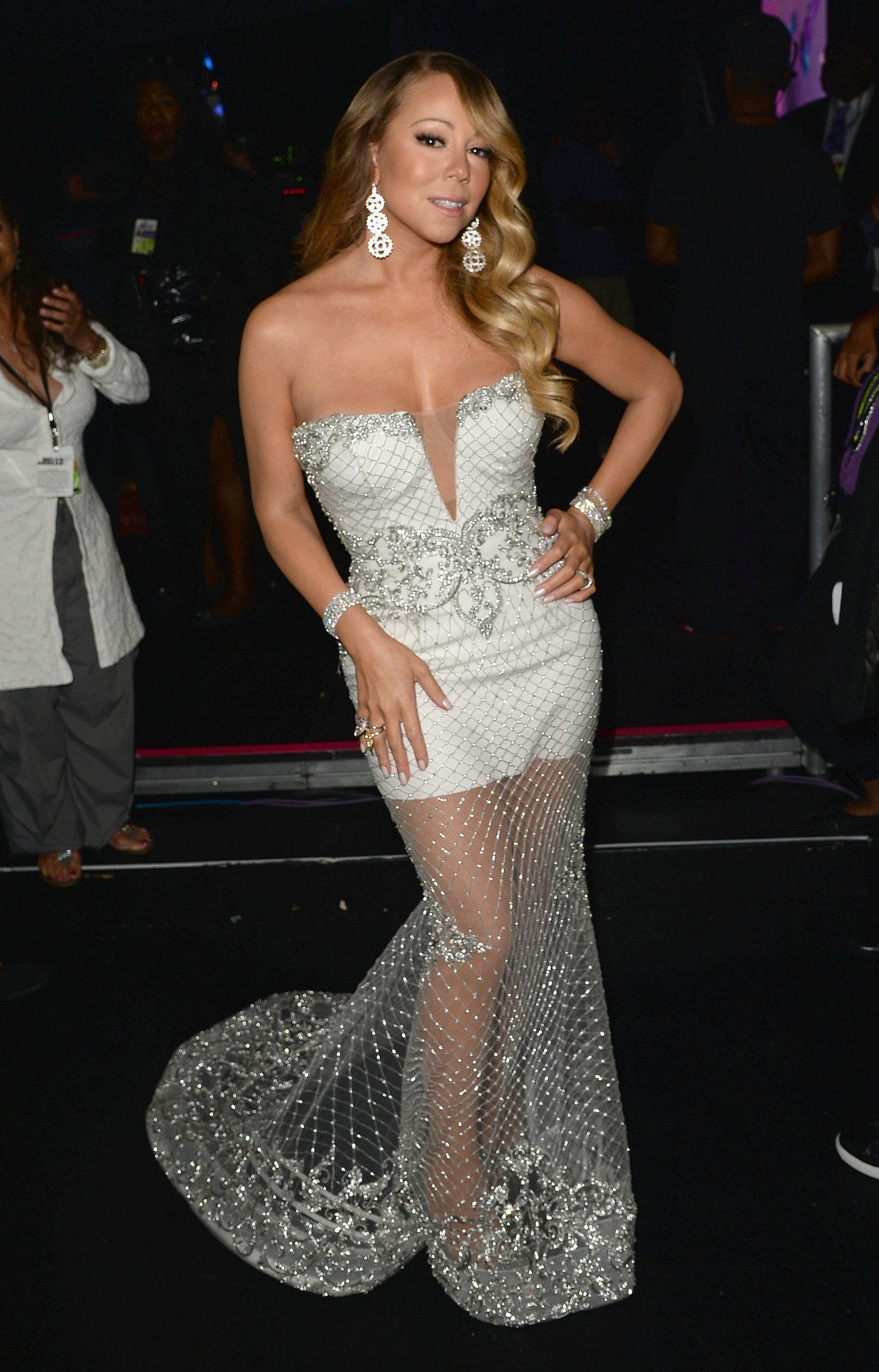 Mariah Carey worked her stuff backstage.