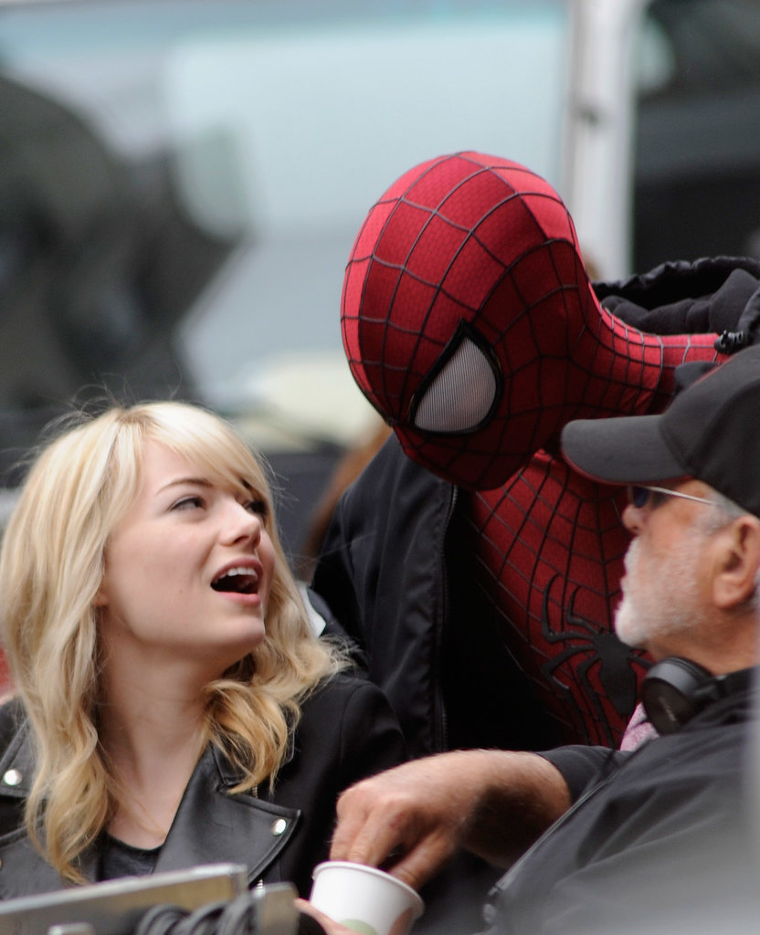 Andrew Garfield joked around with his girlfriend, Emma Stone, on his NYC set.