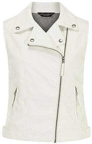 White leather look biker gilet