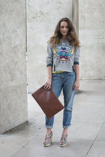 Ancient or brand-new, your favorite pair of jeans can feel fancy instantly thanks to an oversize leather clutch, statement espadrilles, and a luxe sweatshirt.