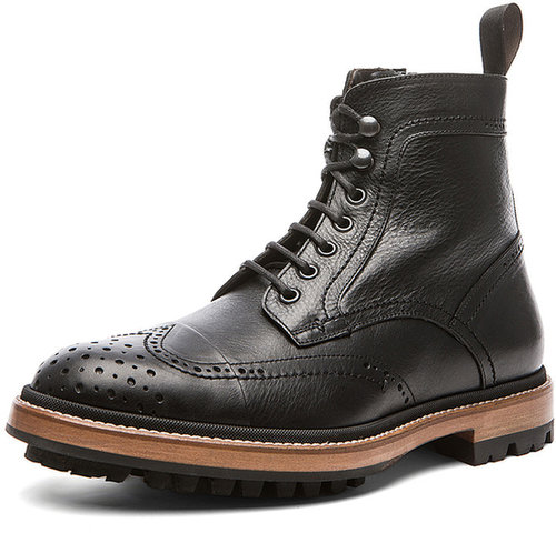 Lanvin Grain Calfskin Zipped Boot in Black