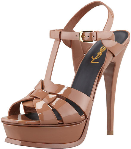Saint Laurent New Tribute Patent Platform Sandal, Natural