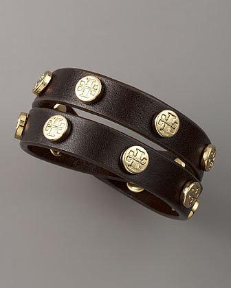 Tory Burch Logo-Studded Bracelet, Brown