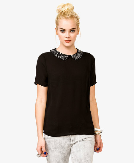 FOREVER 21 Studded Peter Pan Collar Top