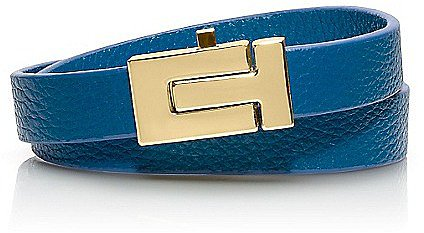 "Tory Burch Skinny ""t"" Push-Lock Double Wrap Bracelet"