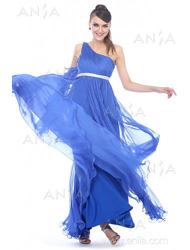 A Line Blue One Shoulder Chiffon Evening Dress F22413