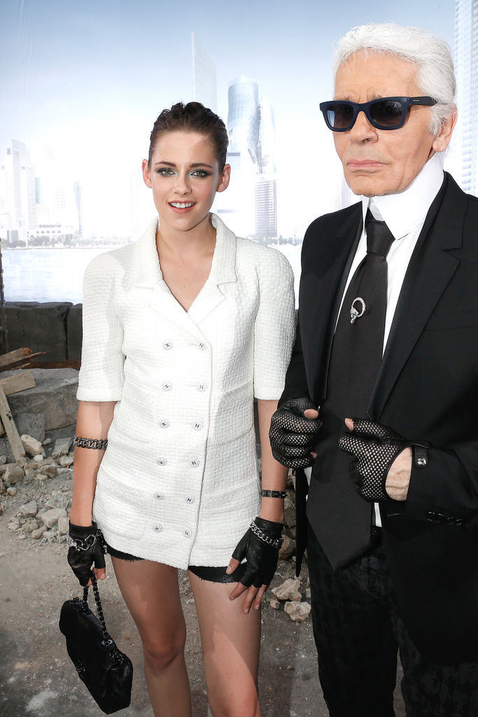 Kristen Stewart and Karl Lagerfeld linked up at the Chanel Haute Couture show in Paris in July 2013.