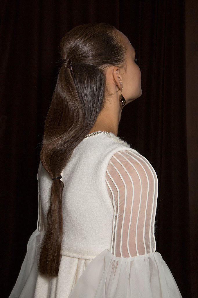 But the hair at Christophe Josse was more interesting. Models wore half-up hairstyles that cascaded into low ponytails.